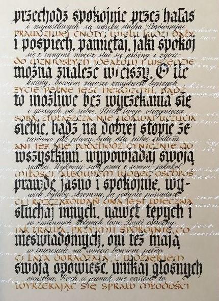 dezyderata kaligrafia